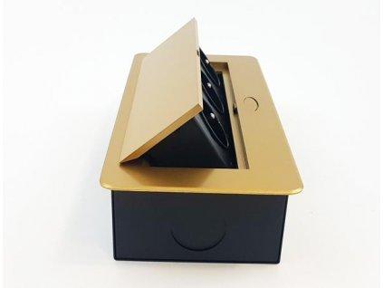 Vestavná, výklopná zásuvková skříňka - 3 zásuvky 230V - zlatá barva ORNO AE 1336 C zlatý