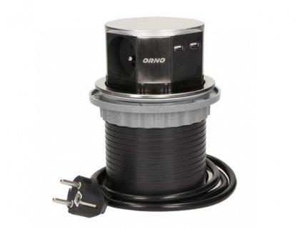 Nerezový, výsuvný, zásuvkový sloupek - 3x zásuvka 230V, 2x zásuvka 5V USB, nap. kabel 1,5m ORNO AE 1381 INOX