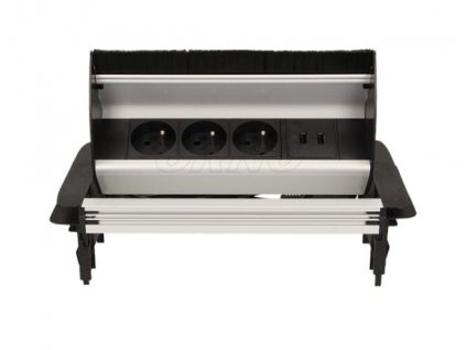 Vestavná, výklopná zásuvková skříňka - 3 zásuvky 230V a 2 zásuvky 5V USB ORNO AE 1362
