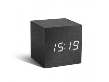 Dřevěný chytrý budík kostka černý