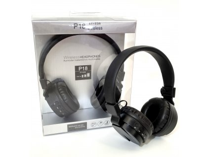 Bluetooth sluchátka P18 - Černá