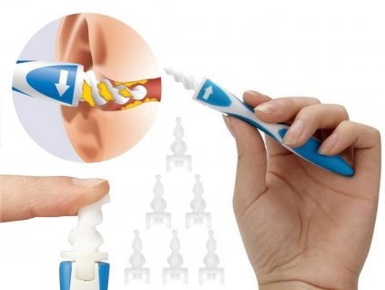 Spirálovitý čistič uší +16 silikonových hlavic