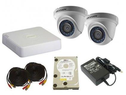 Sada záznamového kamerového systému HikVision turbo HD a 2 venkovní DOME kamery na HDD 1TB
