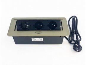 Vestavná, výklopná zásuvková skříňka - 3 zásuvky 230V - světle hnědá, mosazná barva ORNO AE 1337 BR mosaz