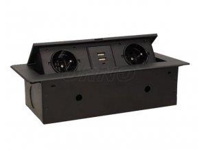 Vestavný, zásuvkový, vyklápěcí modul - 2x zásuvka 230V a 2x zásuvka USB včetně zdroje ORNO AE 13109B černý
