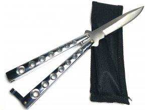 Celokovový nůž motýlek s pouzdrem - stříbrný
