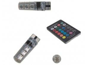 Set 2 LED autožárovek RGB do auta s paticí T10,dálkové ovládání , LED 2x T10 DO RGB