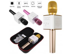 Bezdrátový, bluetooth karaoke Mikrofon s pouzdrem -  zlatá