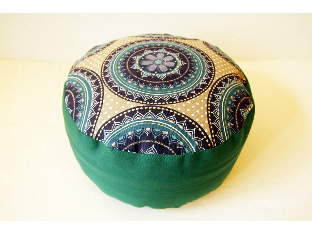Meditační sedák s modrou mandalou - zelený - Obchod s radostí 0e3263aedd