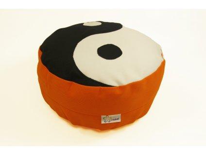 Meditacni pohankovy polstar sedak oranzovy jin jang