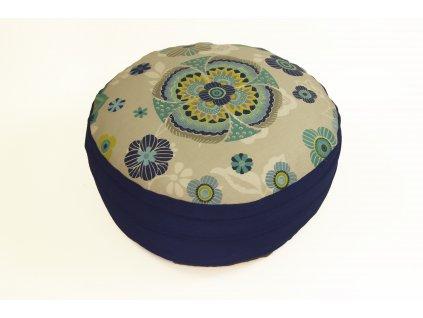 Meditacni pohankovy polstar podsedak s mandalou modry
