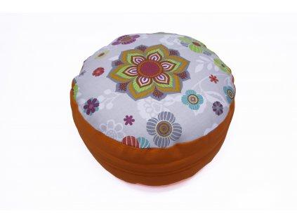 Meditacni pohankovy polstar s mandalkou oranzovy