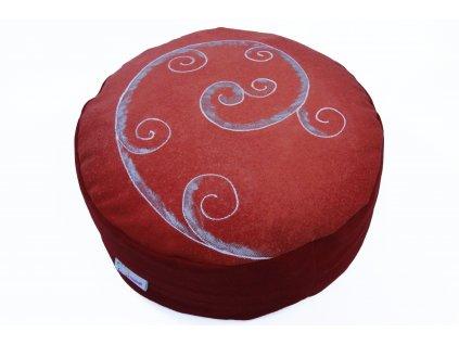 Meditacni polstar spiraly rucnemalovane cerveny