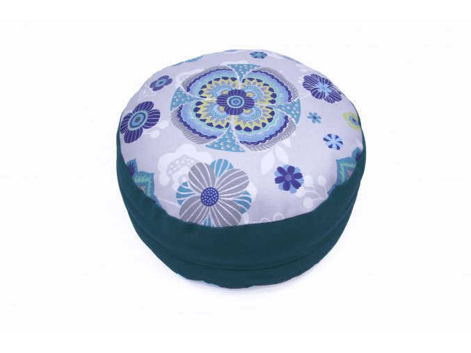 Meditacni pohankovy polstar s mandalou zeleny