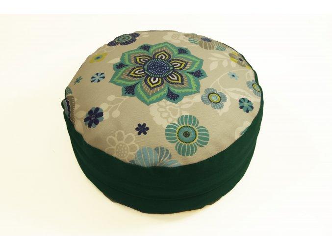 Meditacni pohankovy polstar sedak s mandalou zeleny