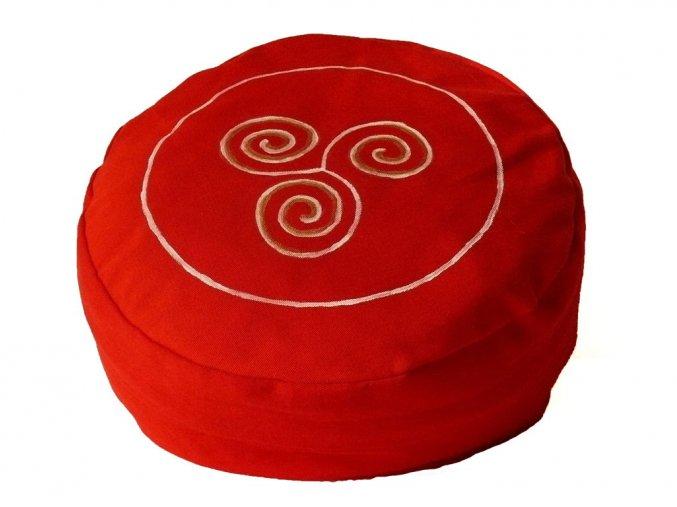 Meditační sedák trojspirála červený