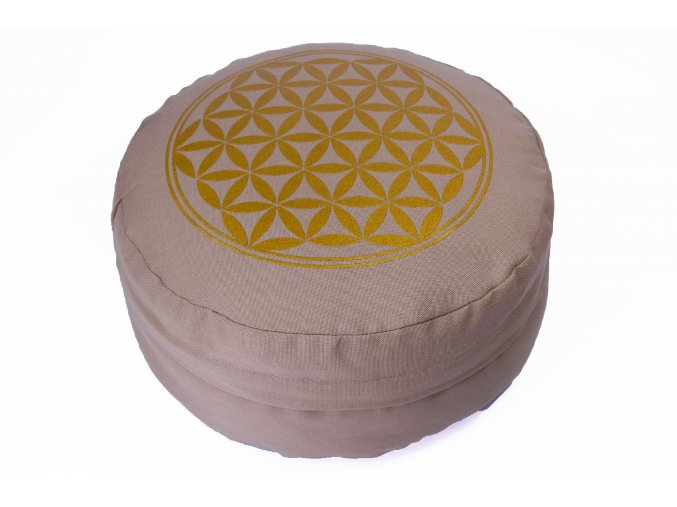 Meditační polštář s květem života béžový