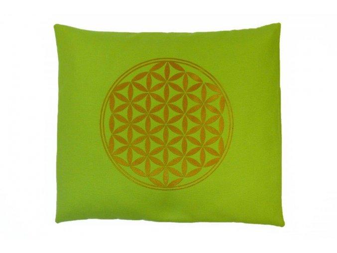Pohankový polštář zelený s květem života