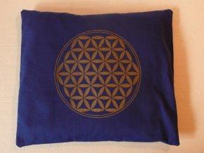 Pohankový polštář s květem života - modrý