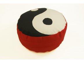 Meditacni pohankovy polstar sedak cerveny jin jang
