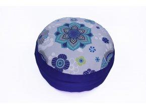 Meditacni pohankovy polstar s mandalou modry