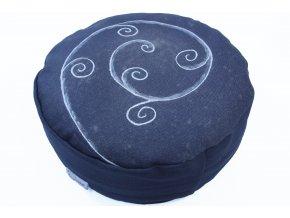 Meditacni polstar spiraly rucnemalovane sedy