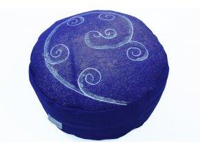 Meditacni polstar spiraly rucnemalovane modry