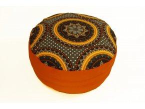 Meditacni pohankovy polstar sedak s oranzovou mandalou2