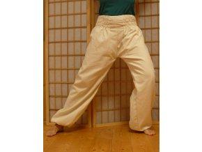 Taiji kalhoty na gumu krémové