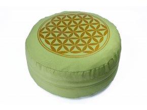 Meditační polštář pistáciová zelená květ života
