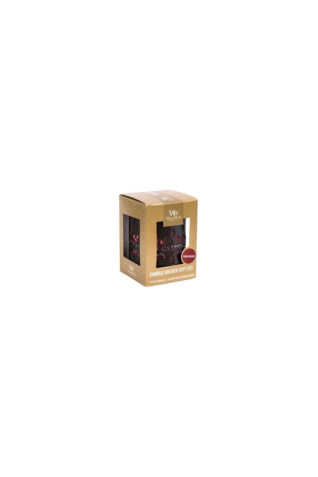 WoodWick dárkový set Bronze Snowflake Pomegranate svíčka petite 3 ks + svícen
