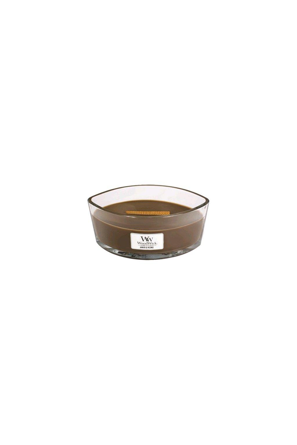 WoodWick Amber & incense svíčka loď 454g