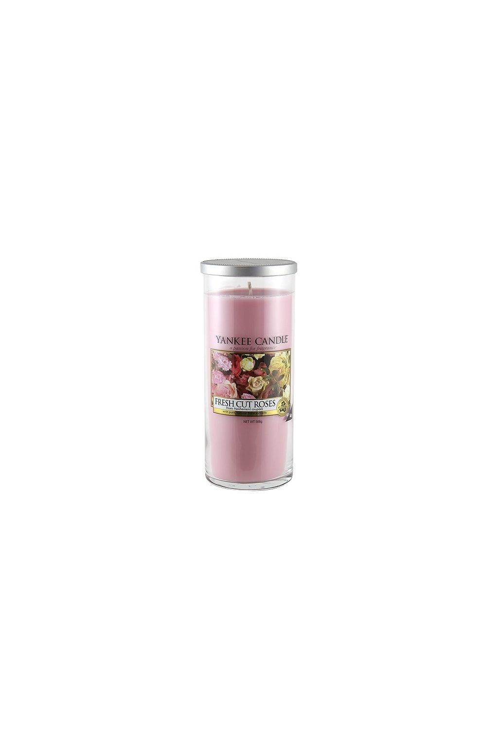 Svíčka ve skleněném válci Yankee Candle - Fresh Cut Roses 566g