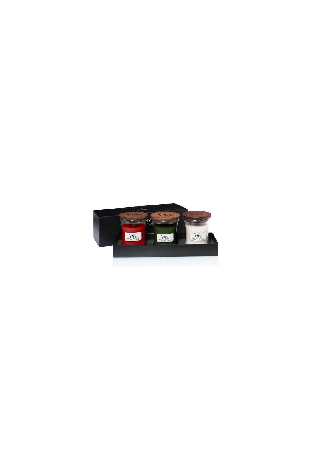 WoodWick dárkový set Frasier Fir,White Teak, Crimson Berries váza malá 3 ks