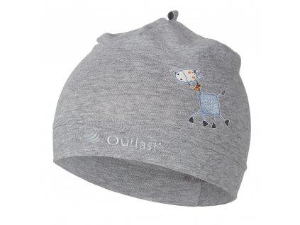 Čepice tenká 10 Outlast® - šedý melír/tisk koník (Velikost 3 | 42-44 cm)