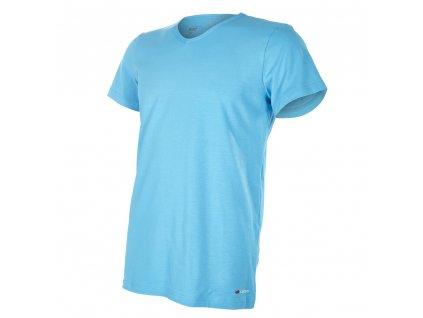 Tričko pánské KR tenké výstřih V Outlast® - azurově modrá (Velikost M)