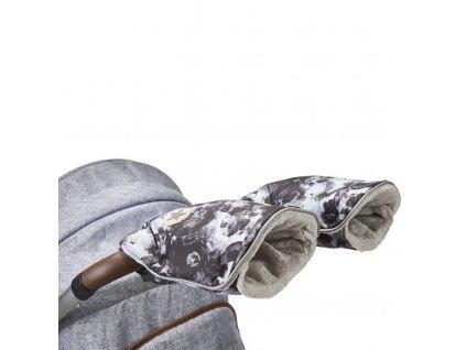 rukavice na kočár tisk Mazlík 2021 černošedá/sv.šedá