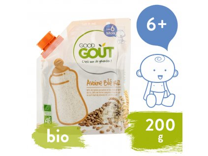 Good Gout BIO Dětská ovesná, pšeničná a rýžová instantní kaše v prášku (200 g)