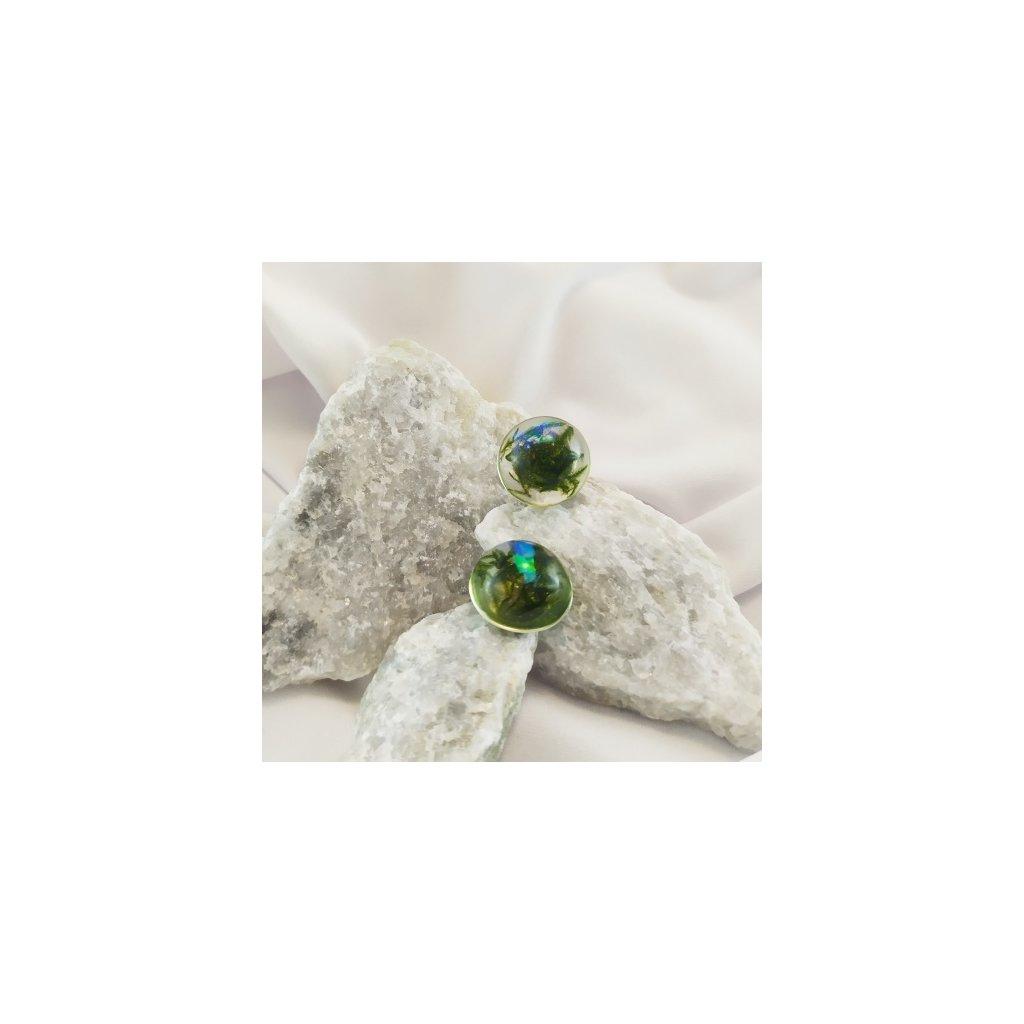 Náušnice zelený mech pecky a glitry