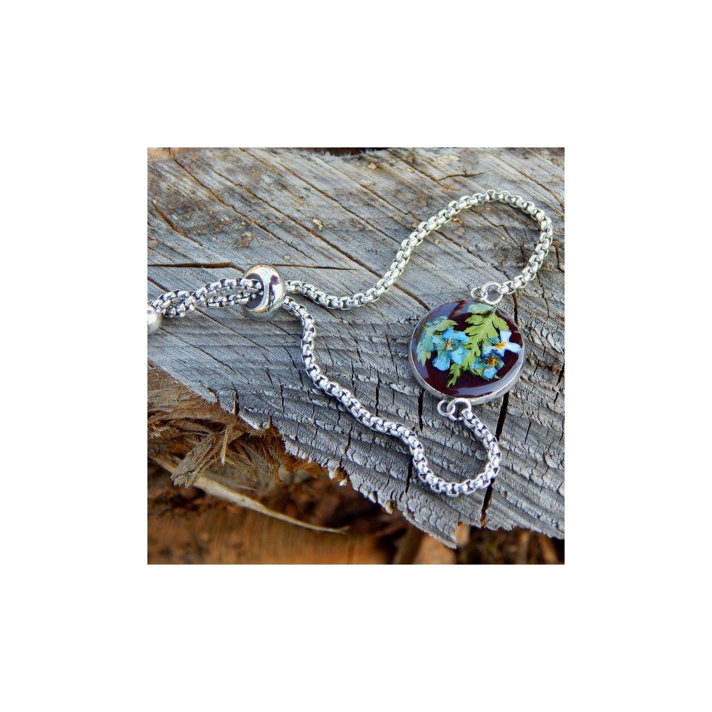naramek modre pomnenky zelene kapradi pryskyrice prave kvetiny obduro jewellery