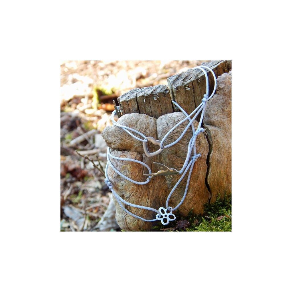snurkovy naramek seda snurka privesek kytka srdce vlastovka obduro jewellery