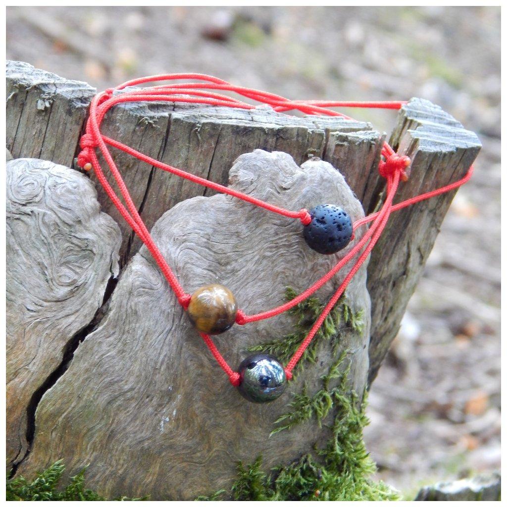 posuvny naramek lava tygri oko hematit cervena snurka obduro jewellery