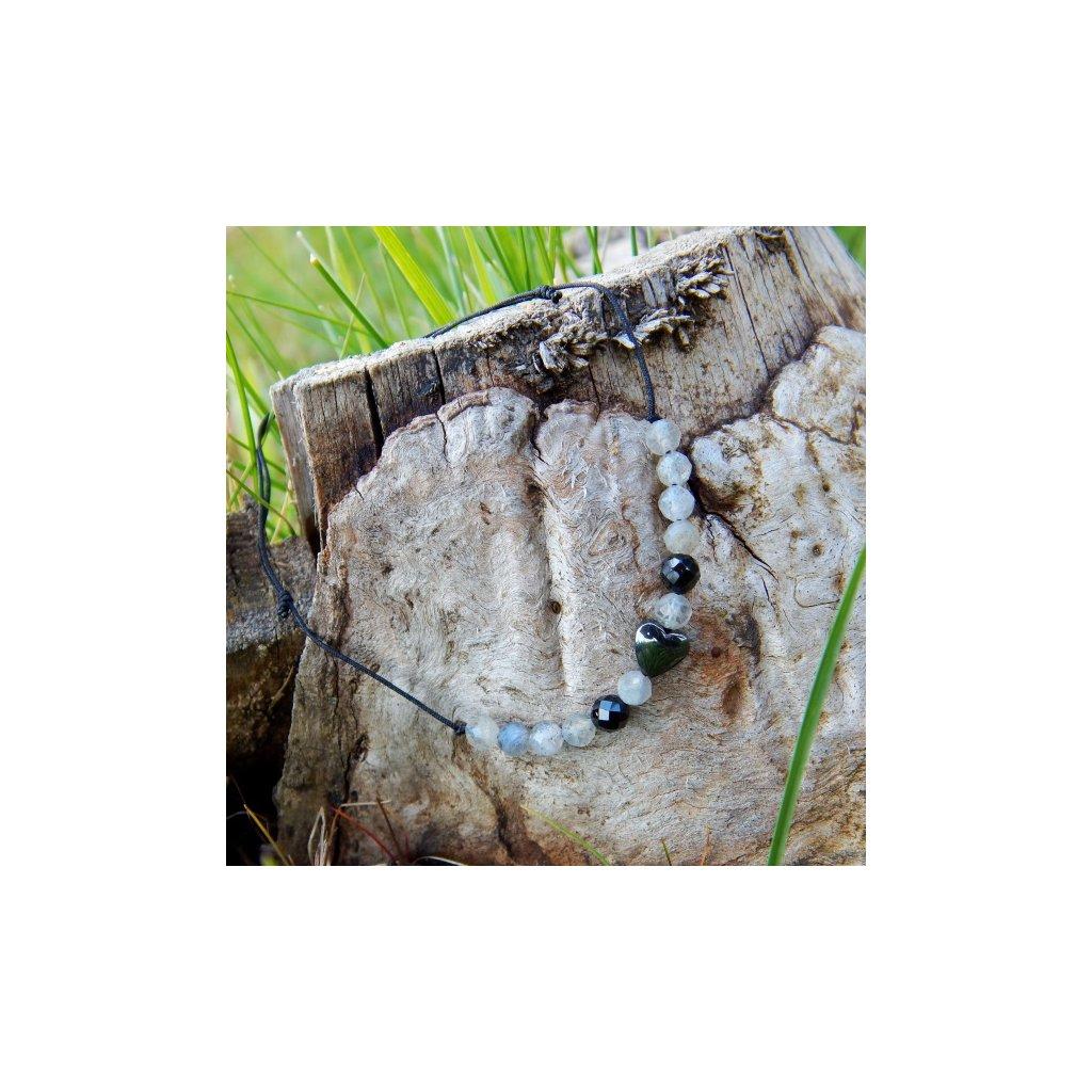 snurkovy naramek labradorit cerny spinel hematit srdce obduro jewellery