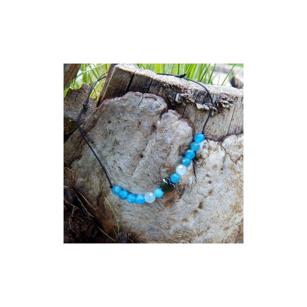 snurkovy naramek apatit akvamarin srdce hematit obduro jewellery