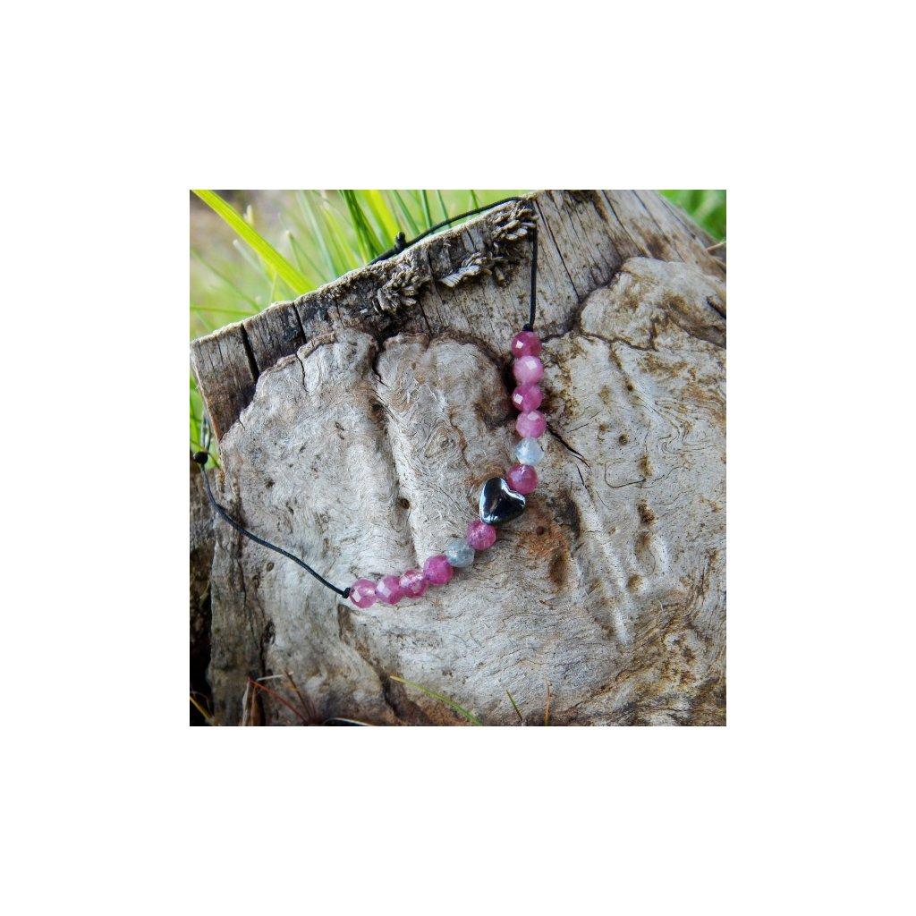 snurkovy naramek turmalin labradorit hematit srdce obduro jewellery