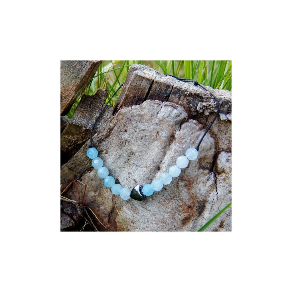 snurkovy naramek akvamarin hematit srdce obduro jewellery
