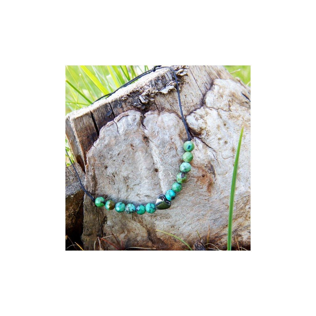 snurkovy naramek prirodni tyrkys hematit srdce obduro jewellery