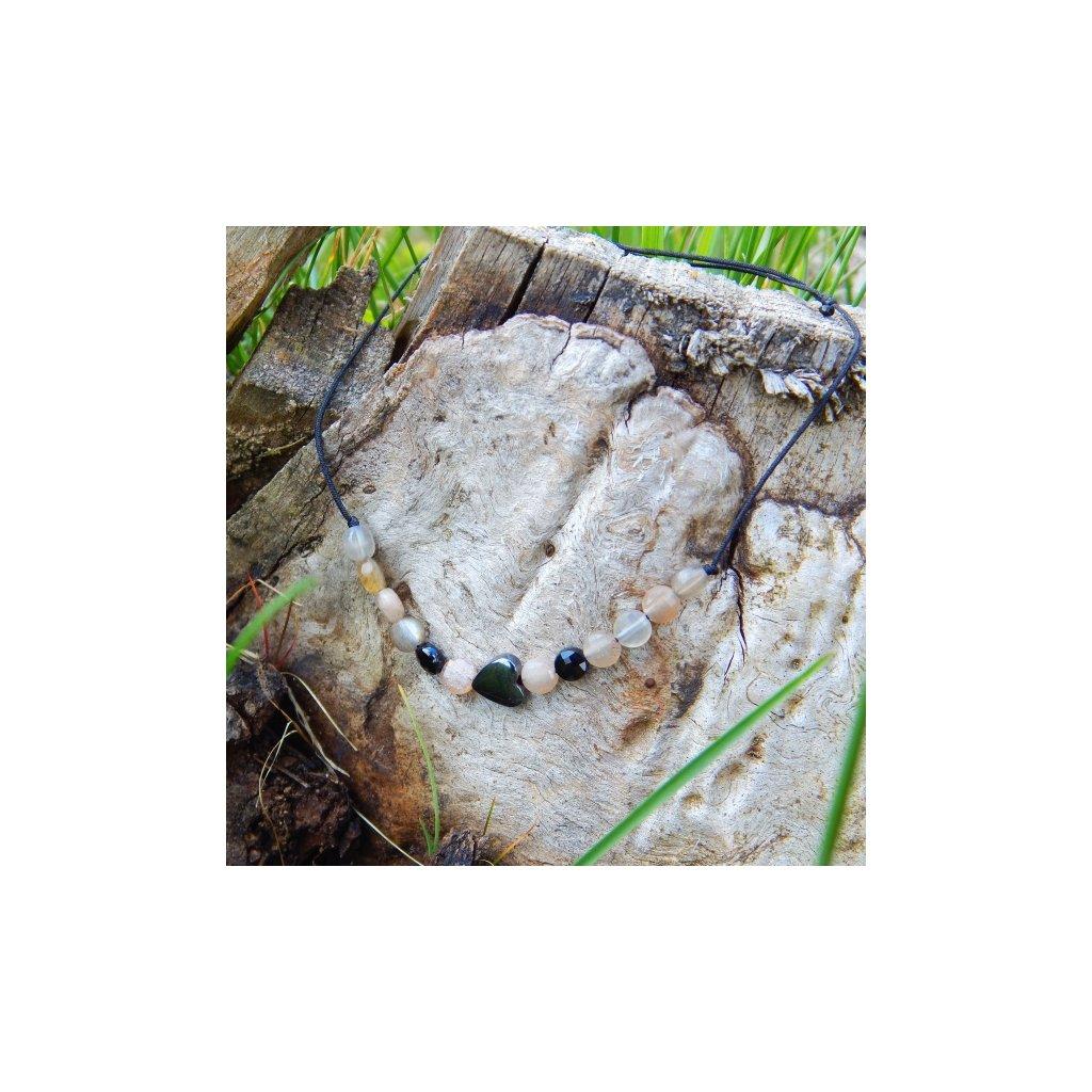snurkovy naramek slunencni kamen spinel hematit srdce obduro jewellery