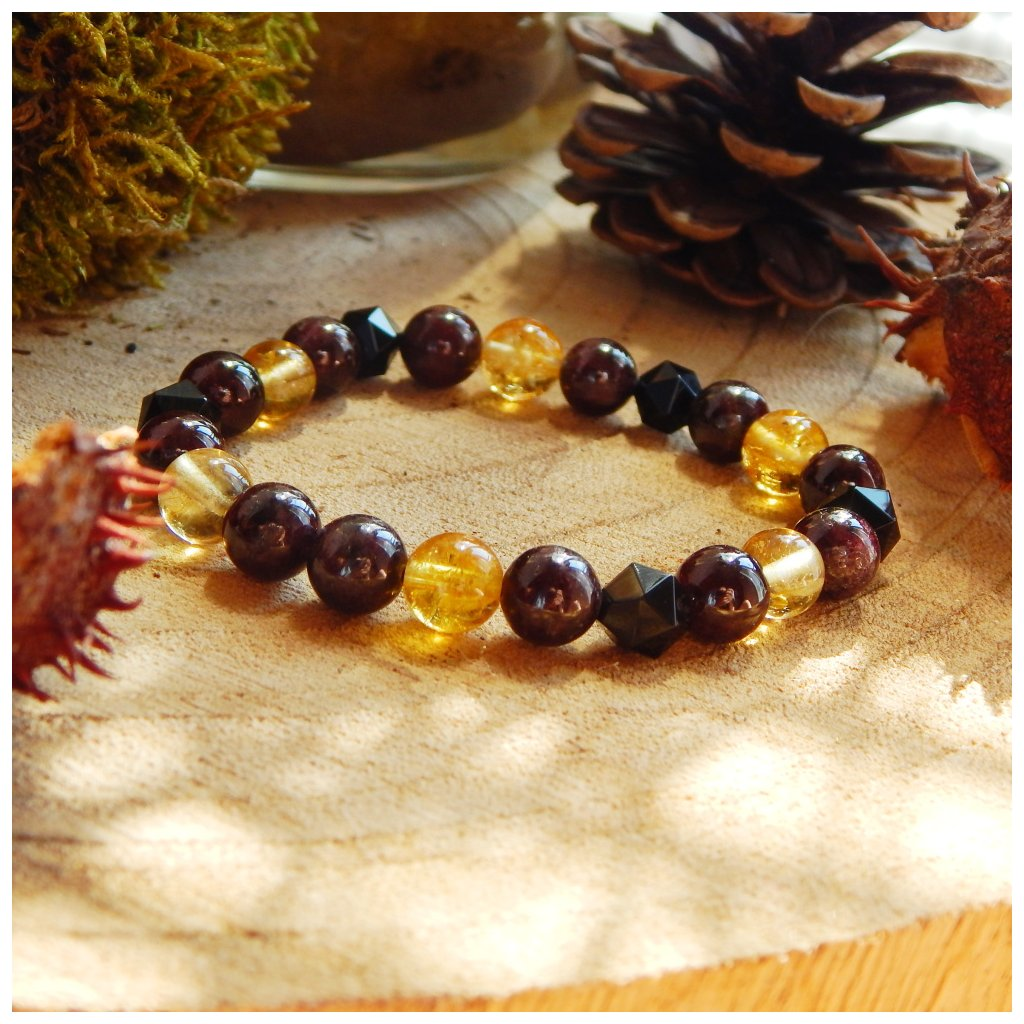 Minerální náramek granát, citrín, onyx, Obduro Jewellery