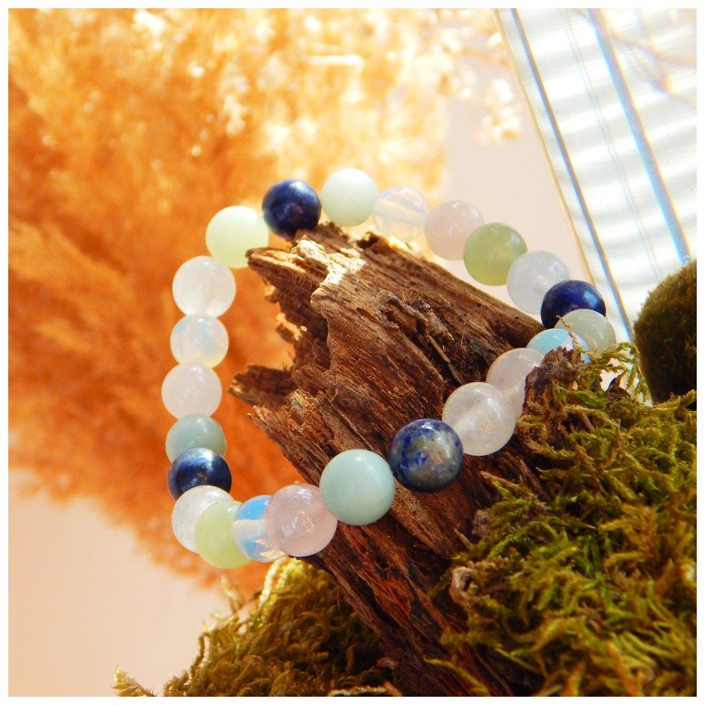 Náramek z kamenů avanturín, amazonit, jadeit, růženín, lapis a opalit, ObDuro jewellery
